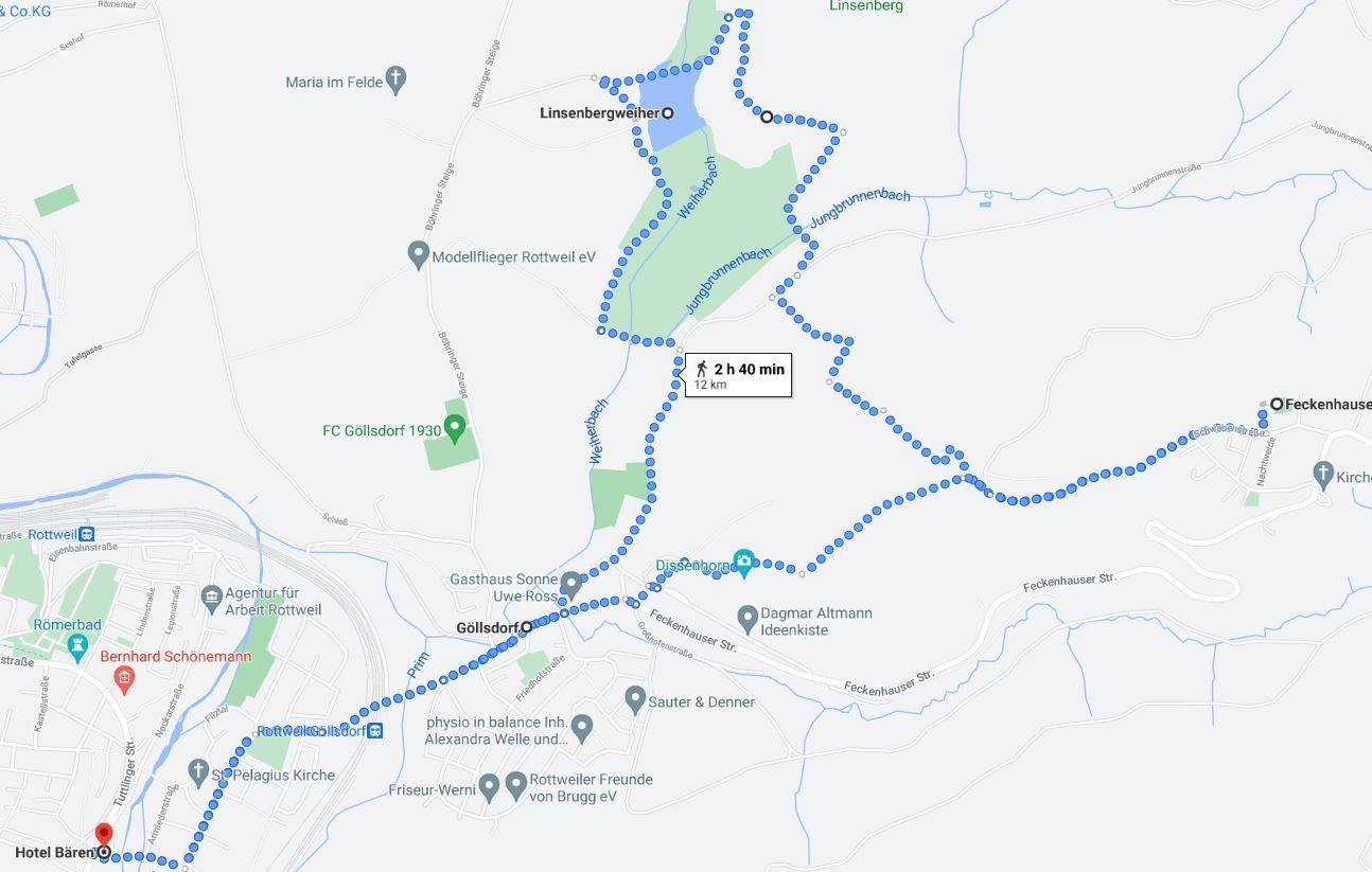 Karte zum LInsenbergweiher